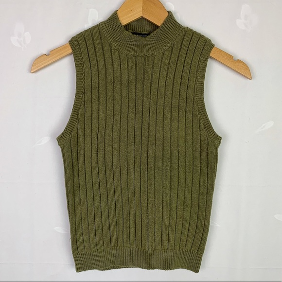Forever 21 Green Mock Neck Rib Knit Tank Top NWT M
